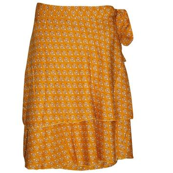 Women's Wraps Skirt Yellow Printed Premium Silk Sari Reversible Boho Short Skirts