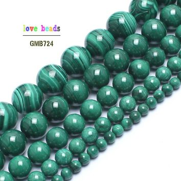 Natural Genuine Green Malachite Stone Round Beads For Jewelry Making 15inches 4/6/8/10/12mm Natural Gem Stone Beads DIY Bracelet