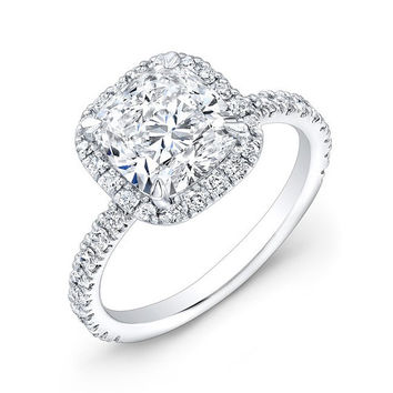 14K White Gold Cushion Cut Halo Diamond Engagement Ring
