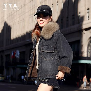 2017 New Fashion Womens Oversized Denim Jacket Fox Fur Collar Jeans Cape Winter Fleece Lining Short Coat Thicken Warm Streetwear