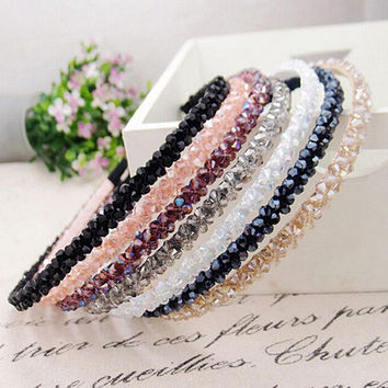Women Handmade Headband Flower Crystal Beads Hairband Hair Band Head Piece  6RMP