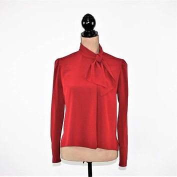 73f146bb9babcd 70s Dark Red Blouse Long Sleeve Puffed Ascot Bow Blouse High Nec