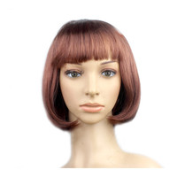Women's Sexy Short Bob Cut Fancy Dress Wigs Play Costume Ladies Full Wig Party   Brown