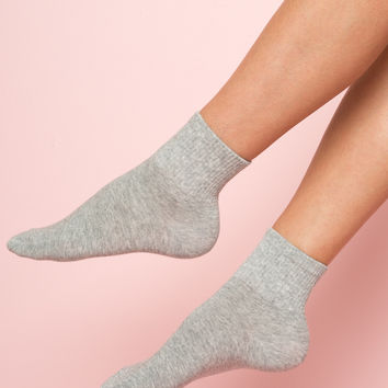 Grey Ribbed Socks - Socks - Accessories
