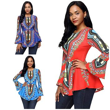African Print Long Sleeve Blouse, US Sizes 4 - 20