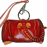 Genuine Leather Craft Coin Purse, Elephant Pattern Face Cover, Cute and Unique (Red).