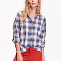 Old Navy Womens Plaid Flannel Boyfriend Shirt