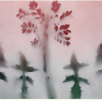 Trees In Fog four trees red green white gift idea spray paint art minimal home office decor ready to be framed bush woodland branches bark