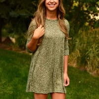 Fall Into Place Dress - Olive