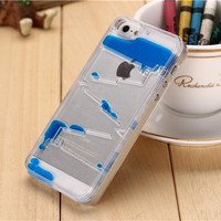 Cool Ladder Water Column Dynamic Liquid Quicksand Cell Phone Case For iPhone 6 6s iPhone 6 6s Plus Transparent Case Cover Fandas