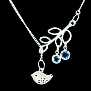 Choose Birthstone Bird And Branch Mother Family Tree Gift Lariat Necklace