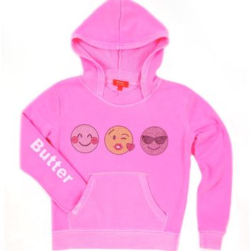 Butter Shy Kiss Cool Emoji Pullover