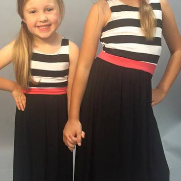 Della Little Girls Maxi: Black Striped Accent
