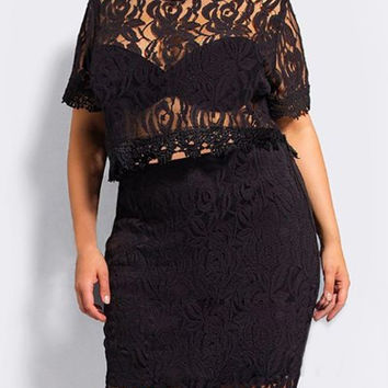 Plus Size Lace Crop Top and Solid Color Bodycon Skirt Twinset
