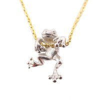 Realistic Frog Pendant Dangling on a Chain Necklace in Silver | Animal Jewelry