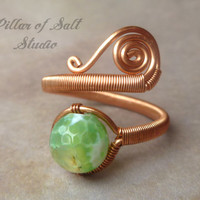 Copper ring, wire wrapped jewelry handmade, wire jewelry, Wire Wrapped Ring, copper jewelry, green agate, unique