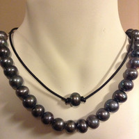 Freshwater Pearl Leather Choker Single Black Peacock Pearl Black Leather Necklace
