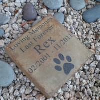 "Custom Engraved Pet Memorial 7.5""x7.5"" 'Loving Memories Last Forever'"