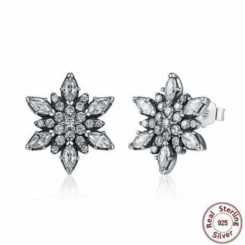 925 Sterling Silver Crystal Snowflake Stud Earrings