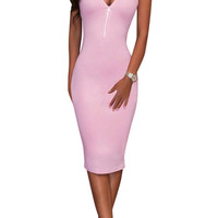 Light Pink V-Neck Zippered Bodycon Sleeveless Dress