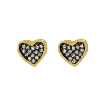 Silver Gold plated Plated Satin Finish Black Rhodium Inside Cz  Heart Shape Stud Earrings