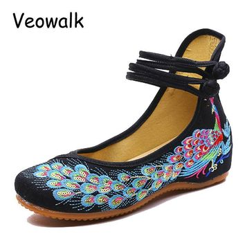Women Embroidered Sequins Flat Shoes With Ankle Strap Closure