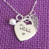 Memorial Jewelry Necklace - Rememberamce - Personalized Memorial Gift - Name - Sterling Silver Necklace - Heart Necklace - Sympathy Gift