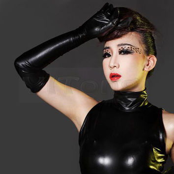 Hot Sexy Long Synthetic Latex Gloves Women Glove Punk Gloves Sexy Hip-pop Jazz Outfit Mittens Culb Wear Eroticas Lingerie