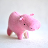 pink hippo  pink hippo plush soft sculpture by MountRoyalMint