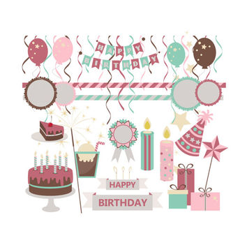 Sweet Stuff Birthday Celebration Party Clipart, Happy Birthday Clip Art, Digital Scrapbook Kit Embellishments, Pink Teal Brown