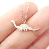 Brontosaurus Sauropoda Dinosaur Silhouette Animal Themed Charm Necklace in Rose Gold