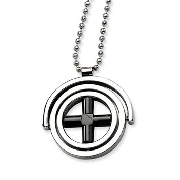 Two-Tone Stainless Steel Circle Necklace - 22 Inch