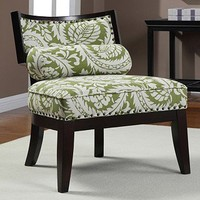 Hannah Green Floral Chair with Bolster Pillow | Overstock.com