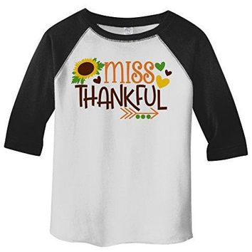 Shirts By Sarah Little Girl's Little Miss Thankful Thanksgiving Toddler Raglan