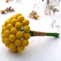 Craspedia Wedding Bouquet Bride Bridal Posy Yellow billy button ball flower felt pom pom floral arrangement dried Spring Summer