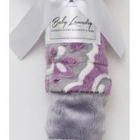 "Baby Laundry 91238 Soft Minky Violet Gray Medallion Cuddle 14""x18"" Baby Blankey with Pacifier Clip"