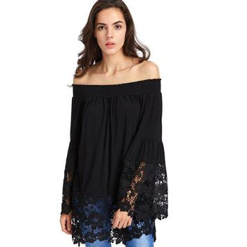 ONETOW Off Shoulder Blouse Long Sleeve Oversized Flare Sleeve  Blouse white black