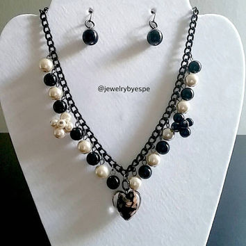 Elegant Black Necklace Black Statement Necklace Pearl Necklace Bubble Necklace Bib Necklace Black Necklace Gifts For Women