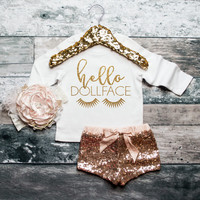 Baby Girl Sweatshirt Baby Girl Clothes Hello Dollface Sweatshirt Girls' Clothes Baby Gift White And Gold Glitter Shirt #86