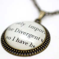 Divergent Book Page Necklace by PrettyLittleCharmsUK on Etsy