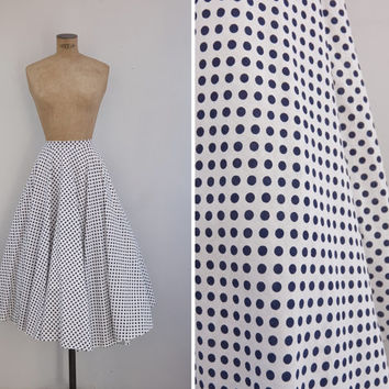 1970s Skirt - Vintage 70s Polka Dot Cotton Circle Skirt - Punto Por Punto Skirt