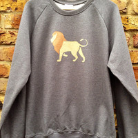 Lion Sweatshirt - low co2, Eco friendly, ethical, hand stencilled