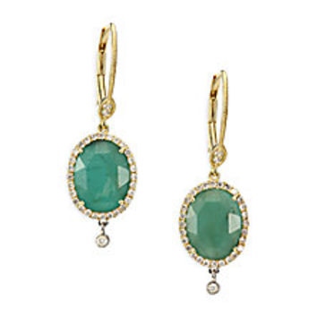 Meira T - Emerald, Diamond & 14K Yellow Gold Oval Charm Drop Earrings - Saks Fifth Avenue Mobile