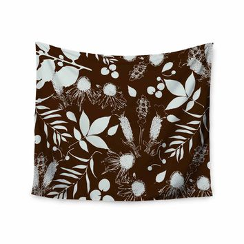 """bruxamagica """"Fall Leaves Brown"""" Brown White Floral Nature Digital Mixed Media Wall Tapestry"""