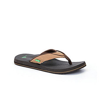 Sanuk Men's Beer Cozy Primo Yoga Flip-Flops - Sand Brown