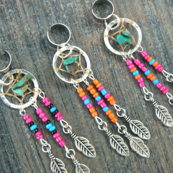 CHOOSE 1  dreamcatcher ear cuff turquoise pink black blue seed beads in native american tribal boho hippie belly dancer and hipster style