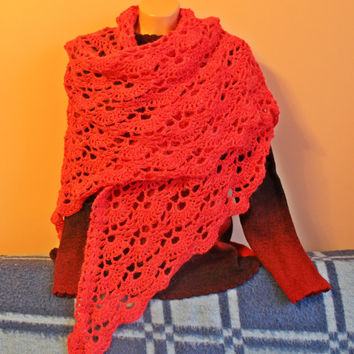 Red large Womens lace Shawl - crocheted Shawlette - Scarf and Wraps hand knitted - Christmas gift - Gift for her - Gift for Mom