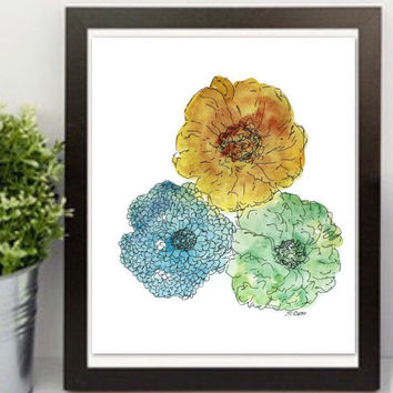 Floral Watercolor painting, Blue, Yellow, Green watercolor flower Print,  floral with ink accents, room decor, nursery art, modern art