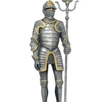 Medieval Knight in Armor with Partisan Sword Figurine 13H