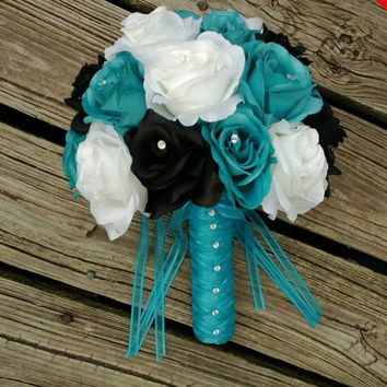 Sale - Malibu Blue Black White Rose Wedding Bouquet, Malibu Blue Bouquet, Black Turquoise Bouquet, Blue Black Bouquet, Malibu Blue Wedding